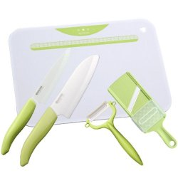 Kyocera Kitchen 5-Piece Set (Ceramic Knife / Fruit Knife / Ceramic Peeler / Ceramic Slicer / Kitchen Board) Green