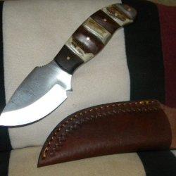 "Handmade 7.5"" Deer Antler And Dogwood Handle Skinning Dress Knife"