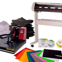 Uscutter 25 Inch Vinyl Cutter And 15In X 15In Clamshell Heat Press Transfer Bundle With Stand And Sure Cuts A Lot Pro (Design And Cut Software)