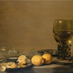 Oil Painting 'Pieter Claesz-Still Life With Two Lemons,A Facon De Venise Glass,Roemer,Knife And Olives On A Table,1629' Printing On Cotton Canvas , 8X11 Inch / 20X28 Cm ,The Best Hallway Decor And Home Gallery Art And Gifts Is This Cheap But High Quality