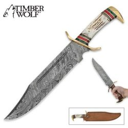 Timber Wolf Custom Stag Damascus Fixed Blade Bowie Knife