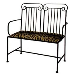 Grace Roman Wrought Iron Loveseat, 40In, Black Levante Fabric, Burnished Copper Finish