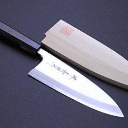 "Yoshihiro Mizu Yaki Aonamiuchi Blue Steel Deba Ebony Handle Japanese Fillet Butcher Chef Knife 7.7""(195Mm)"
