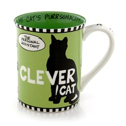 Our Name Is Mud 16-Ounce 'Clever Cat' Mug By Lorrie Veasey, 4.5-Inch