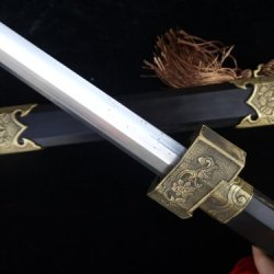 Chinese Sword/Damascus Steel Handmade/Relief Hibiscus Copper Tosogu/Full Tang