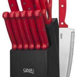 Ginsu 3887 Essential Series Cutlery Set With Black Block, Red