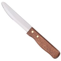 Steak Knife - 5 Inch Blade With Rounded Tip Wood Handle 1 Dozen