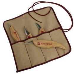Flexcut 4 Pc Knife Set Includes Kn12 Kn13 Kn18 Kn19 Tool Roll Sharp