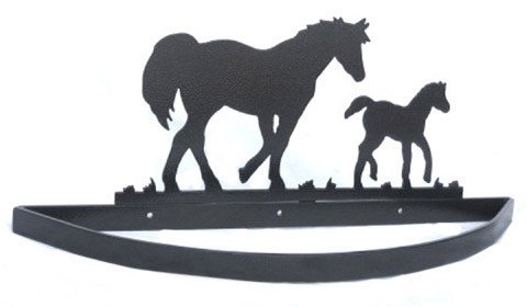 Image of Smoky Mountain Metal Arts Horse and Colt Wall Mount Pot Rack (WMPR-2004)