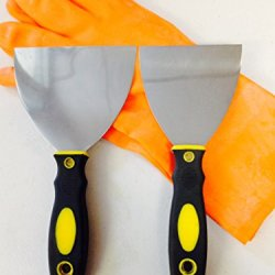 "Tbc Scraper Knives & Glove Set: 4"" & 5"" Flex Taping Knives, Putty Knife, Joint Knife, With Soft Grip Handle Stainless Steel Blade 9"" Long & One Pair Of Rubber Glove Special Low Price"
