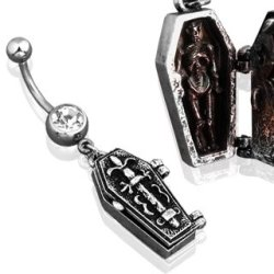 """Belly Button Ring Single Gem Navel Coffin Dangle Angle Skeleton Dagger Skull 14G 3/8"""""""
