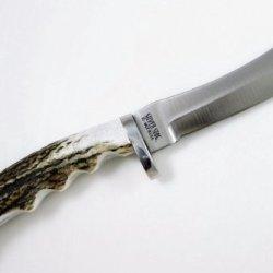 Silver Stag Bullnose Hunting Knife D2 Tool Steel Elk/Moose Antler Beam Handle