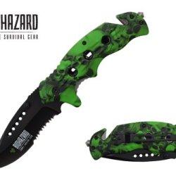 "Biohazard 8"" Spring Assisted Folding Rescue Pocket Knife Green Skull Handle"