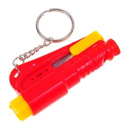 Life Hammer Car Emergency Tool Emergency Window Breaking Tool Safety Hammer Auto Keychain Belt Car Knife Emergency Rescue Tool Glass Breaker Car Safety Tool Window Broken Tool Seat Belt Cutter Red