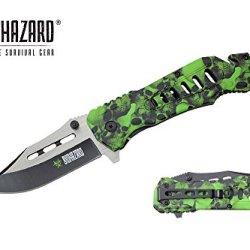 "Biohazard 8.25"" Assisted Open Rescue Folding Pocket Knife Green Skull Handle"