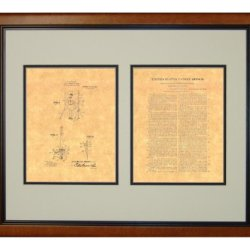"Moulin Knife-Throwing Illusion Patent Art Print In A Honey Glazed Wood Frame (16"" X 20"")"