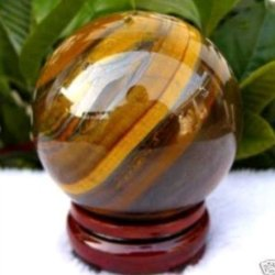Aaa 45Mm Natural Tiger'S Eye Quartz Crystal Sphere Ball + Stand