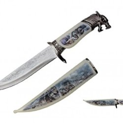 "13.5"" Collector'S Wildlife Collection Hunting Bowie Knife The American Fighting Wolf With Decorative Sheath & Handel"