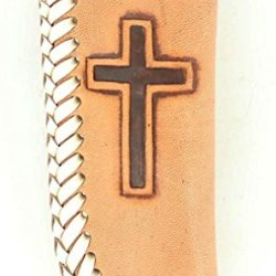 Nocona Men'S Embossed Cross Leather Knife Sheath Natural One Size