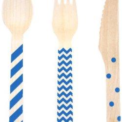 Dress My Cupcake Stamped WoodenCutlery Set, Chevron/Striped/Polka Dot, Royal Blue, 18-Pack