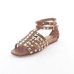 Kelsi Dagger Women'S Roxy Flat Studded Sandals In Cognac Size 7.5