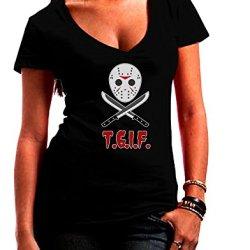 Scary Mask With Machete - Tgif Juniors V-Neck Dark T-Shirt - Black - Medium