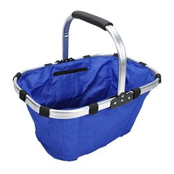 Collapsible Foldable Picnic Tote Basket, Lightweight With Solid Strick With Aluminum Alloy Frame(Blue)