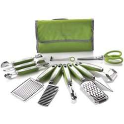 New Wolfgang Puck 12 Pc Garnish Essentials Set With Storage Case (Green)