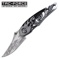 "3"" ""Born Free"" Spring Assisted Motorcycle Knife - Black And Gray"