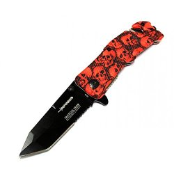 "New 8"" Red Blood Zombie Handle Tactical Team Spring Assisted Knife With Belt Clip"