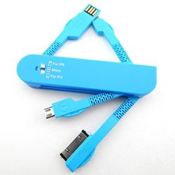 E-Age 3-In-1 Folding Knife Style Multi-Functional Usb Travel Data Cable For Ipod / Iphone 4/ Iphone 5 / Samsung Galaxy (Blue)