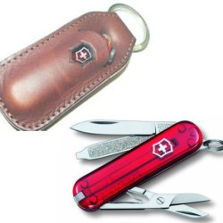 Victorinox Ruby Classic Caravan In Gift Tin With Brown Leather Sheath 66935