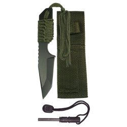 "Hts 230L0 7"" Full Tang Tanto Style Knife With Fire Starter"