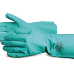 "Superior Nif3018 Flock Lined Nitrile Glove, Work, Chemical Resistant, 0.018"" Thickness, 13"" Length, Size 9, Green (Pack Of 1 Dozen)"