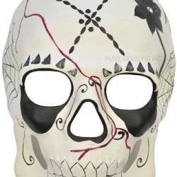 Black White Mexican Sugar Skull Hand-Painted Paper Mache Mask