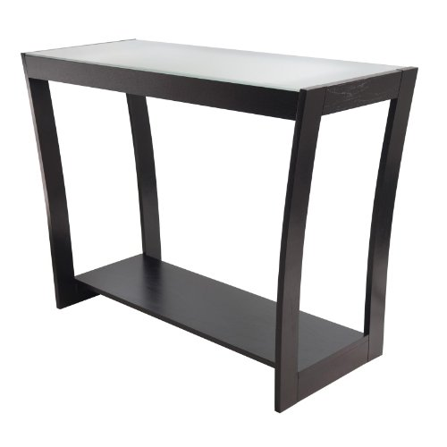 Image of Radius Console Hall Table with Frosted Glass and Curved Legs (B006VIJAL0)