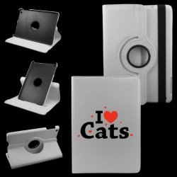 I Love Cats Mini Ipad Cover Synthetic Leather Rotating Ipad Mini Case (White): 360 Degrees Multi-Angle Vertical And Horizontal Stand With Strap- Lifetime Warranty