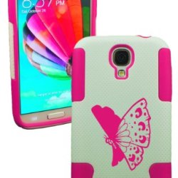 Plastic & Silicone Case For Galaxy S4 Butterfly Cover (Pink)- Lifetime Warranty