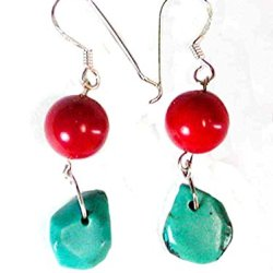 Handmade Sterling Silver Red Coral And Turquoise Chip Wire Earrings