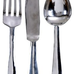 "23"" Oversized Aluminum Silver Fork, Knife & Spoon Wall Decor Set"