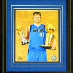 Dirk Nowitzki Unsigned Framed Holding Mvp & Finals Trophy 8X10 Photo - Nba Photos