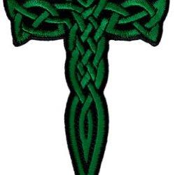 Celtic Cross Dagger Green Iron-On Patch Embroidered Irish Crucifix