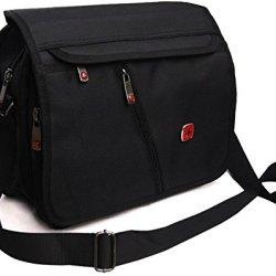 Swiss Travel Gear 12 Inch Laptop Macbook Computer Pc Single Shoulder Messengers Bag. For Tablet Ipad 2 3 4 Air Pro Plus.Outdoor Exercise Sport Pocket.Business And Casual School Fashion Stg77Ss2-Black