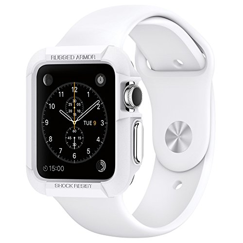 Apple-Watch-Case-Spigen-Resilient-Apple-Watch-42mm-Case-Impact-Protection-NEW-Rugged-Armor-White-Include-2-Screen-Protectors-Ultimate-protection-from-drops-and-impacts-for-Apple-Watch-42mm-2015-White-