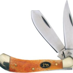 Frost Cutlery & Knives Bkh111Rob Blackhills Small Saddlehorn Pocket Knives With Red-Orange Smooth Bone Handles