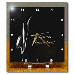 Dc_43331_1 Beverly Turner Invitation Design - Dinner Invitation, Spoon Knife And Fork On Black - Desk Clocks - 6X6 Desk Clock
