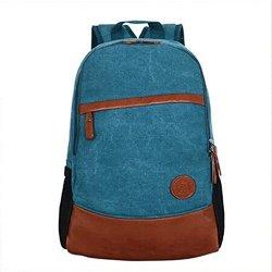 Women Men Nylon Cow Leather Backpack Korea New Style Laptop School Shoulder Bag-Blue