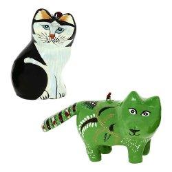 Paper Mache Animal Decor Valentine Ornaments Fox And Cat