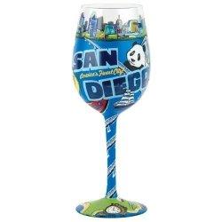 Santa Barbara Design Studio Lolita Love My Wine Hand Painted Glass, San Diego