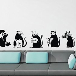 Funny Rats Mole Wall Sticker Art Decoration For Kids 5Pcs/Set
